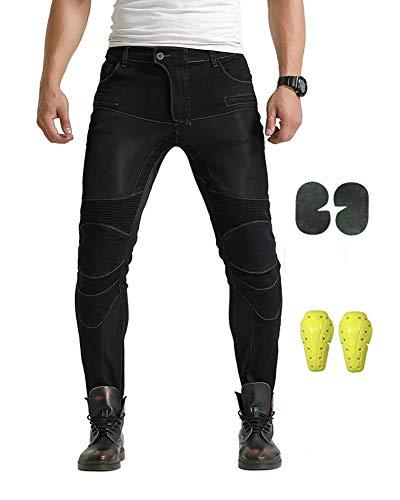 GELing Hombre Motocicleta Pantalones Moto Pantalón Mezclilla Jeans con Protección Aramida ,Negro,L