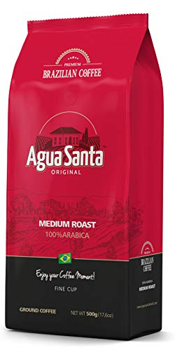 Agua Santa Ground Specialty Coffee Medium Roast, Single Origin Brazilian Coffee, Direct Trade, 17.6 Oz (500g)