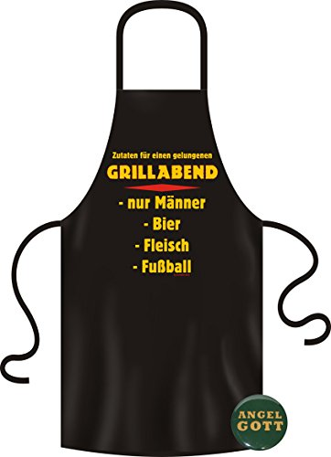 Cadeauset Schort + Button: Grillschort/kookschort GRILLAVEND mannen bier fleece voetbal + button ANGELGOOD