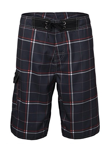 Nonwe Men's Beachwear Board Shorts Quick Dry Plaid Pattern Deep Gray 28