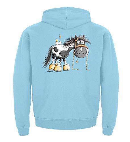 Happy Pinto Pferd Comic I Schecke Tinker I Modartis Pferde I Pony I Reiter Geschenk - Kinder Hoodie -5/6 (110/116)-Sky Blue
