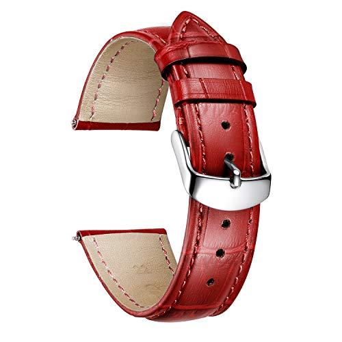 BINLUN Cinturino per Orologio in Vera Pelle di Vitello di Ricambio Cinturini Orologi a sgancio rapido Uomo Donna 10 Colori 12mm,13mm.14mm,15mm,16mm,17mm,18mm,19mm,20mm,21mm,22mm,23mm,24mm