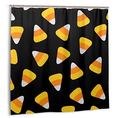 goodsaleA Duschvorhang,Candy Corn.Happy Halloween Seamless Pattern.Geschenkpapier,Stoff Badezimmer Dekor Set mit Haken 150cmx180cm