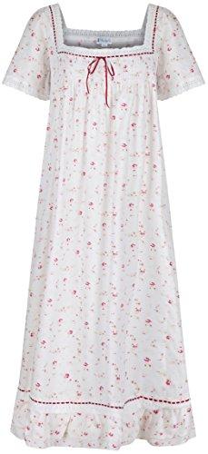 The 1 for U 100% Baumwolle Nachthemd Kurzärmelig - Evelyn - Creme - Vintage Rose, XXL