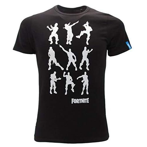 Epic Games T-Shirt Originale Fortnite Bambino Ragazzo Posizioni movimenti Maglia Nera Maglietta (7-8 Anni)