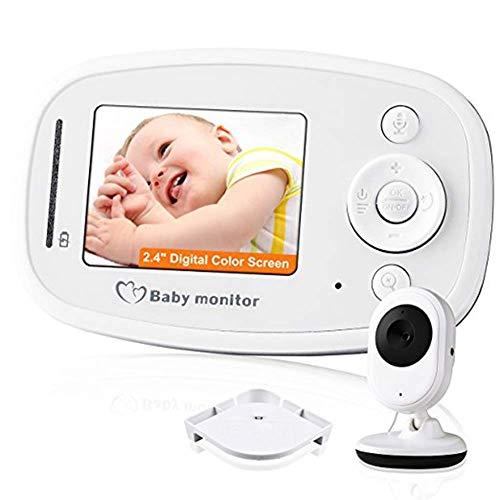 Baby Monitor Solo Audio Altavoz bidireccional de Nana Incorporado de Largo Alcance con luz Nocturna y detección de Temperatura