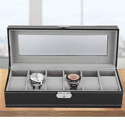 Caja de Almacenamiento de Reloj, Caja de Reloj, Caja de joyería de Reloj de Lujo de 6 Rejillas para Almacenamiento de exhibición con Almohadas pequeñas