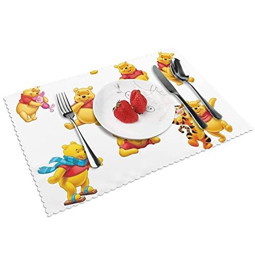 Winnie the Pooh - Juego de 4 manteles de cocina (poliéster), lavables y antideslizantes, resistentes al calor, fáciles de limpiar.