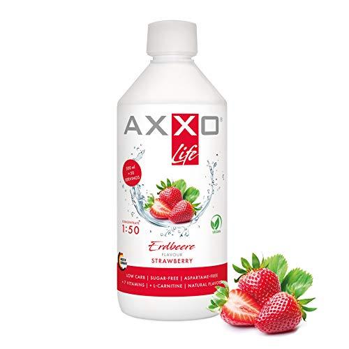AXXO Life Erdbeere - Getränkekonzentrat und Vitaminkonzentrat, 500 ml Flasche, Nahrungsergänzungsmittel für die ganze Familie mit 7 Vitaminen + Zink + L-Carnitin & Vegan