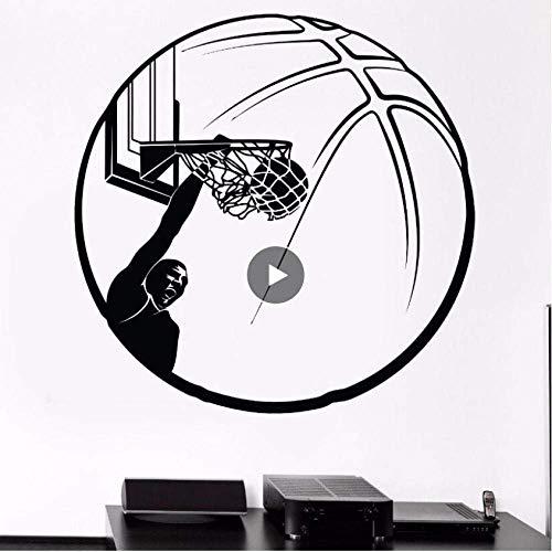 Basketball Muursticker Basketball Ring Ball Muurtattoo Sport Fans Muurschildering Verwijderbare Sport man Vinyl Muurtattoos 75 * 75 cm