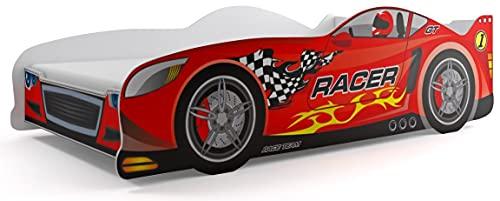 Lit simple en forme de voiture Cars, pour enfants, Rouge, 160 x 80 cm, avec matelas de 7 cm inclus dans le prix