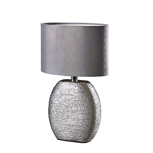 Moderne Keramik-Tischlampe mit grauem Stoff-Lampenschirm in Metallic-Chrom-Optik.