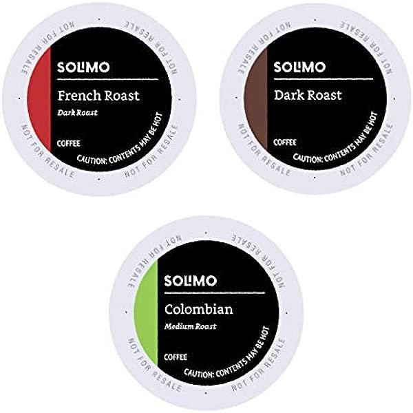亚马逊品牌 100 Ct Solimo 品种包中、暗烤咖啡豆荚哥伦比亚黑法国烤兼容 Keurig 2 0k 杯酿酒商