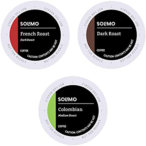 Amazon Brand 100 Ct Solimo Variety Pack Medium And Dark Roast Coffee Pods Colombian Dark French Roast Compatible With Keurig 2 0 K Cup Brewers