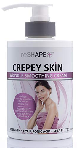 Crepey Skin Treatment Cream Wrinkle Smoothing cream w/Collagen, Hyaluronic Acid. Hydrating Cream Improves Elasticity, Plumps Sagging Skin. For Body, Neck, Hands, Face. Fragrance-Free by Reshape 15 oz