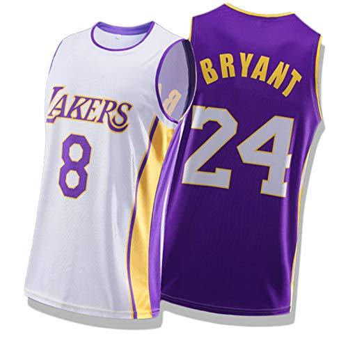 WXZB Basketball Jersey Bryant # 8# 24, Hombres y Mujeres Baloncesto Bordado Retro Sudadera, Contraste Color Puntando Jersey color2-XXL