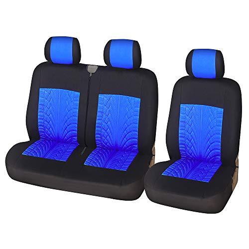 TOYOUN Universal Sitzbezüge Auto für Transporter LKW Vordersitze Autositzbezüge 3D-Reifen-Spur-Muster 1+2 Sitzbezug Schonbezüge, Blau