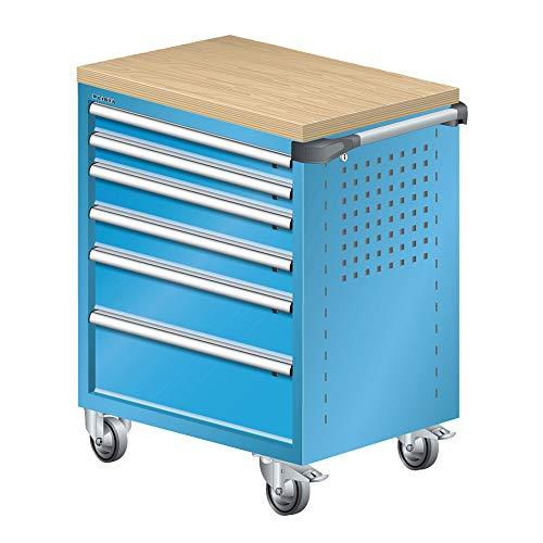 LISTA Art.Nr. 81.062.010 Werkstattwagen mit Holzabdeckung 36x27E (BxTxH) 894x525x928mm 6 Schubladen Lichtblau RAL 5012