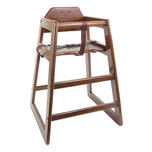 Great Deal! TigerChef Wood High Chairs in Walnut Finish with Safety Harness On Both Sides and A Wide Stance to Avoid Tipping Over Dimensions: 28-1/10″ x 22″ x 1-7/10″ (1 Pack, Walnut)