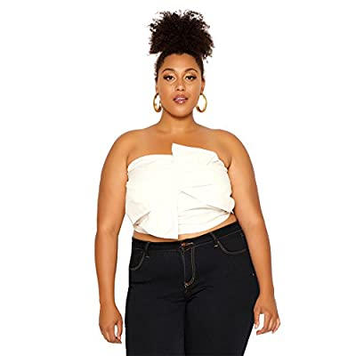 Sexy Off Shoulder Tube Crop Top,Women Plus Size Twist Bowknot White Bustier Club Top XXL from Astra Signature