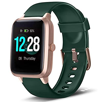 "LETSCOM Smart Watch Fitness Tracker Heart Rate Monitor Step Calorie Counter Sleep Monitor Music Control IP68 Water Resistant 1.3"" Color Touch Screen Activity Tracking Pedometer for Women Men"
