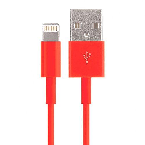 Caringa - Cable amarillo de carga compatible con iPhone 5,5S, 5C, 6,iPad, iPod, cargador para toma de pared, enchufe y cargador del coche, 1metro