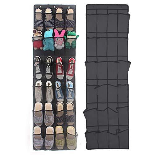weichuang Shoe rack 24 Pocket Shoe Space Door Hanging Organizer Rack Wall Bag Storage Closet Holder Accessories 2019 Hanging Bags Shoe (Color : Black)