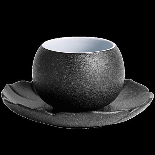 N\C Taza de té vintage con plato de cerámica gruesa de estilo japonés, taza de té Kung Fu Tea Pu'er Cup Antigua Pottery