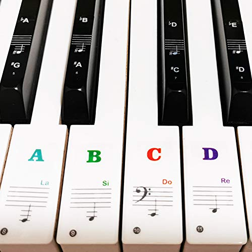 Piano Keyboard Stickers for 88/61/54/49/37 Key, Bold Large Letter Piano Stickers for Learning, Removable Piano Keyboard Letters, Notes Label for Beginners and Kids, Multicolor