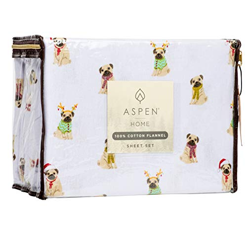 Aspen Home Pugs and Kisses 4 Piece Queen Size Cotton Flannel Warm and Cozy Sheet Set Winter Pug Dogs in Colorful Christmas Scarves Jackets Hats and Reindeer Headpiece