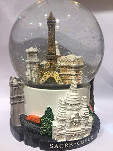 VIANAYA Schneekugel Eiffelturm und andere Denkmäler von Paris – große Größe 14 cm – Sockel aus hochwertigem Harz und Glaskugel – Paris Monuments in 3D graviert – Glitzer Schnee – Farbe Weiß