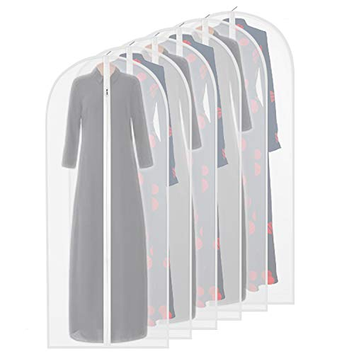 homeminda Garment Bags Clear 6packs 55in Long Hanging Moth Proof Lightweight White Breathable Dust Covers with Study Full Zipper for Storage Wardrobe Dresses Gown Clothes