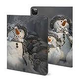 Étui pour iPad Pro 2021 avec carte de Noël de trois bonshommes de neige et porte-crayon pour iPad...