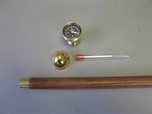 Canne Canne Bâton de marche en bois avec boussole et tubes d'hydratation Capitaine étage 93 cm M45 Walking Clé