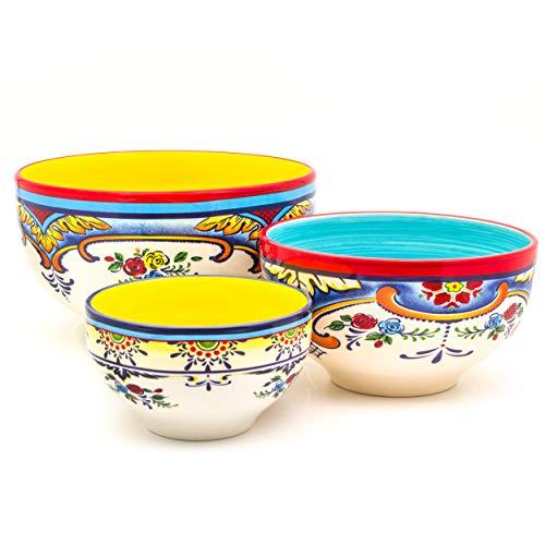 Euro Ceramica Zanzibar Collection Vibrant Ceramic Mixing Bowls, 3 Piece Set, Spanish Floral Design, Assorted Sizes, Multicolor