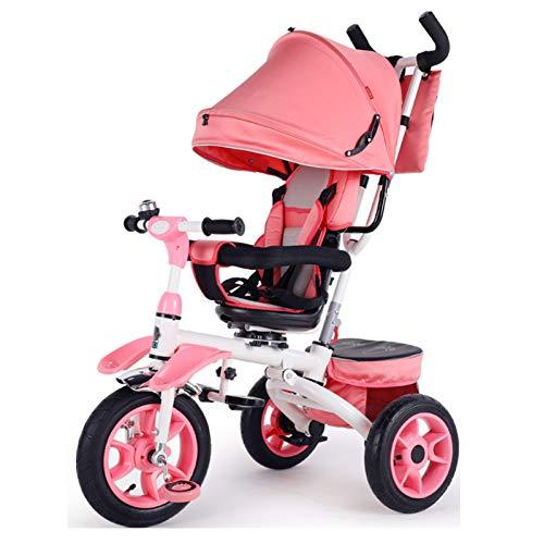 GIFT Triciclo Plegable para Niños Reclinado para Bebés 1-3 Bebés Carretilla Infantil para Bebés, Rueda De Goma Elástica No Inflable, 1-6 Años,D