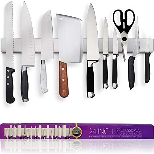 24 Inch Heavy Duty Magnetic Knife Holder Large Size Premium Stainless Steel Magnetic Knife Strip product image