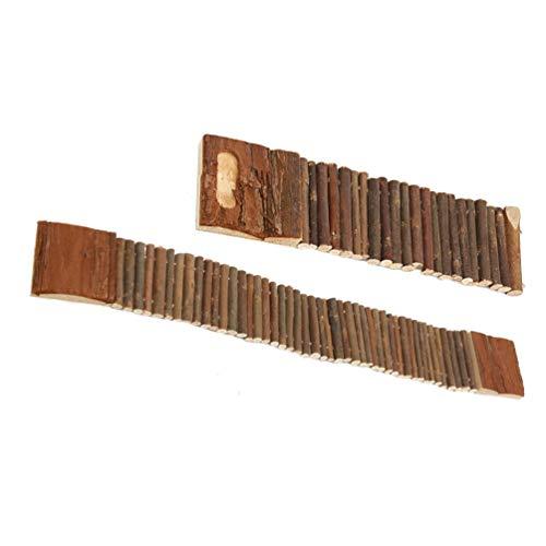 TEHAUX Puente de escalera de madera para hámster, loro, pájaro, escalera, puente colgante, mezcla, columpio, juguete para masticar roedores, juguete para esconderse de 7 cm x 55 cm