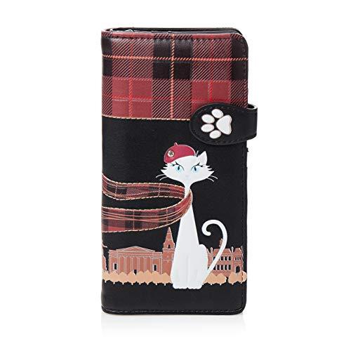 Shagwear ® Portemonnaie Geldbörse Damen Geldbeutel Mädchen Bifold Mehrfarbig Portmonee Designs: (Reisender Kater Schwarz/Travelling Cat in Paris)