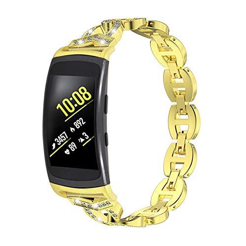 BFISOD Gear Fit 2 Band, Correa de Reloj de Repuesto de Metal con Diamantes de Imitación para Mujer Correa Ajustable Compatible con Gear Fit 2 SM-R360 /Gear Fit 2 Pro SM-R365 (Oro)