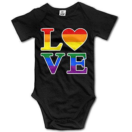 RTGreat Bodysuits Gay Love Rainbow Heart Gay&Lesbian Pride Baby Girls/Boys Short Sleeve Bodysuit Jumpsuits