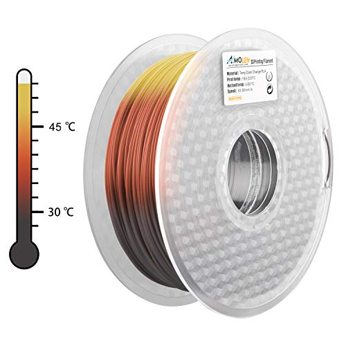 AMOLEN 3D Printer Filament, Tri Color Changing with Temperature, Black to Brown to Yellow PLA Filament 1.75mm +/- 0.03 mm, 1KG, 3D Printing Materials for 3D Printer and 3D Pen