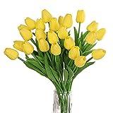 huaao 24pcs Bouquet di Tulipani Artificiali in Lattice Fiore Finto Tocco Reale Decorazione Festa Matrimonio Party Room, Giallo