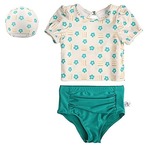 Emfay 女児 水着 セパレート 花柄 かわいい 3点セット キャップ付き キッズ 水着 女の子 2#