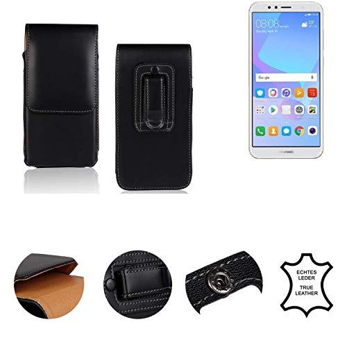 K-S-Trade® Holster Gürtel Tasche Für Huawei Y6 (2018) Dual-SIM Handy Hülle Leder Schwarz, 1x