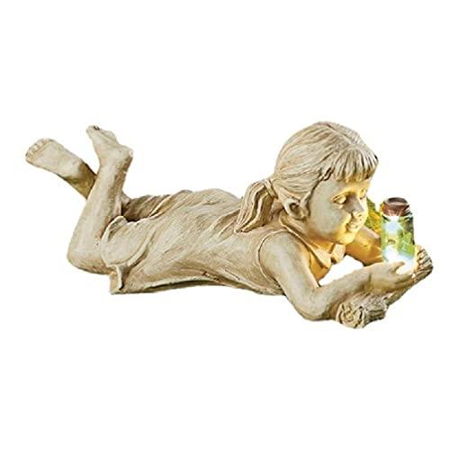 MAOSUO Estátua de vaga-lume para crianças, ornamento de jardim, jarra iluminada, escultura para meninos/meninas, decoração de desenho animado fofo, acessórios de decoração para jardinagem ao ar livre, ornamentos de estátua