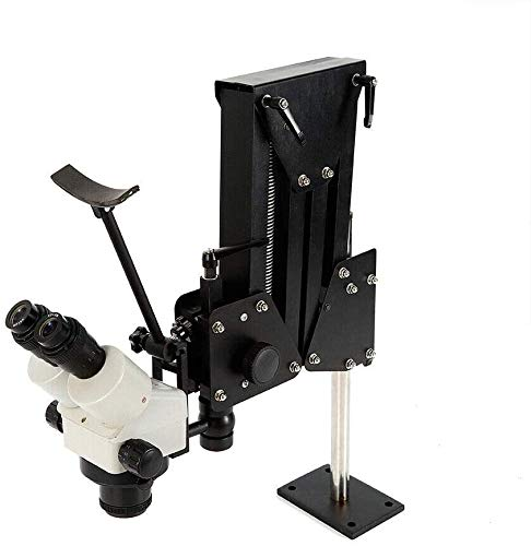 Micro Inlaid Mirror Spring Stand Multi-Directional Microscope Binocular Stereo Zoom Micro Inlaid Mirror Spring Bracket Micro-Setting Microscope Jewelry Making Tool (Microscope with Stand(77mm))