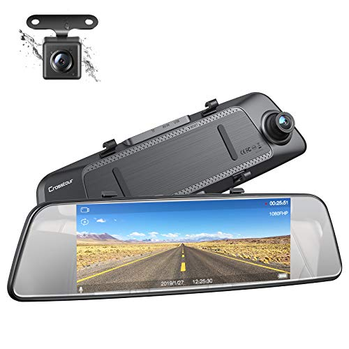 Mirror Dash Cam Front and Rear Dual Lens, Crosstour Waterproof Rear View Backup Camera, 1080P IPS Touch Screen 290° Wide Angle Cam with G-sensor, Parking Monitor, Loop Recording