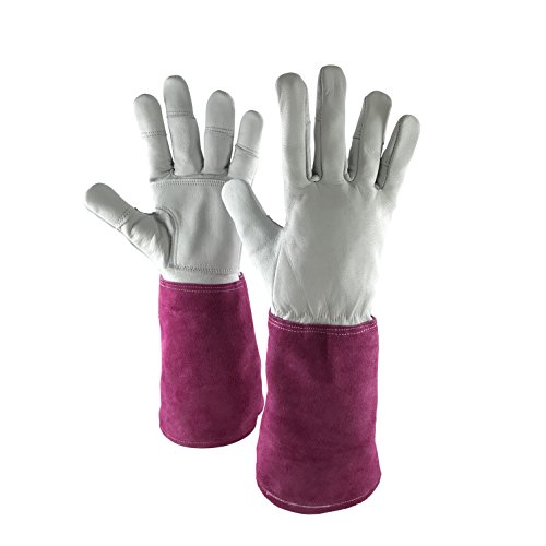 Leather Gardening Gloves for Women - Thorn Proof Goatskin Leather & Long Sleeve Cowhide for added protection - Ladies Gauntlet Gloves Ideal for all Garden Tasks (Weeding to Pruning). (Small)