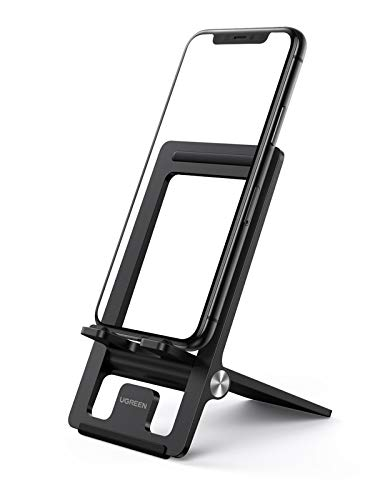 Suporte de celular UGREEN para suporte de mesa de telefone ajustável compatível com iPhone 11 Pro Max XS XR 8 Plus 6 7 6S smartphone, dobrável e portátil, Preto